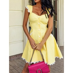 Above Knee Lace Cap Sleeve Expansion Women's Dress