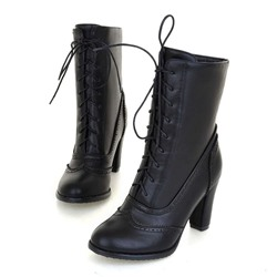 Shoespie Sexy Round Toe Lace-Up Front Plain Western Boots