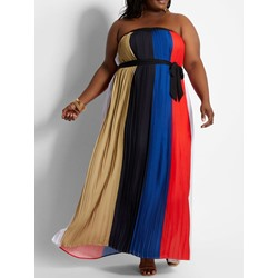 Floor-Length Sleeveless Patchwork Pleated Women's Dress