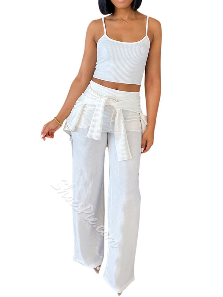 Pocket Simple Pants Straight Women's Two Piece Sets