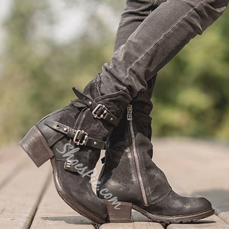 Shoespie Trendy Round Toe Plain Side Zipper Microfiber Boots