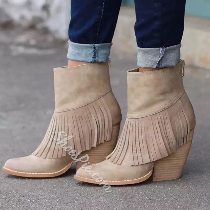 Shoespie Trendy Plain Back Zip Chunky Heel Casual Boots
