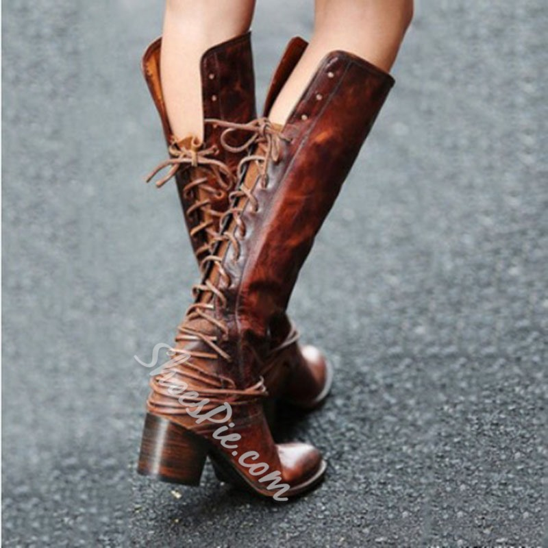 Shoespie Sexy Plain Side Zipper Round Toe Western Boots
