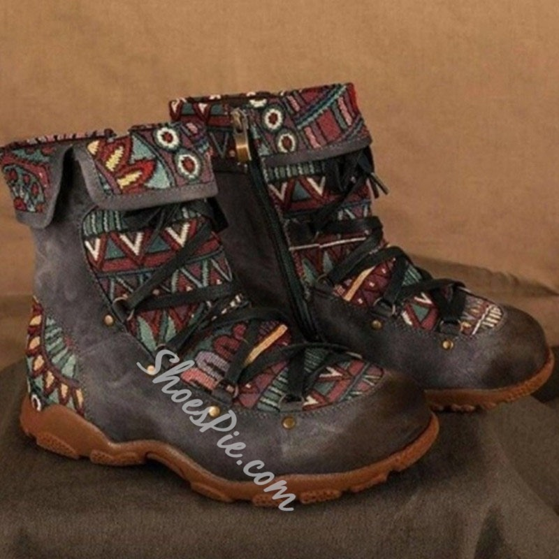 Shoespie Sexy Patchwork Side Zipper Round Toe Western Boots