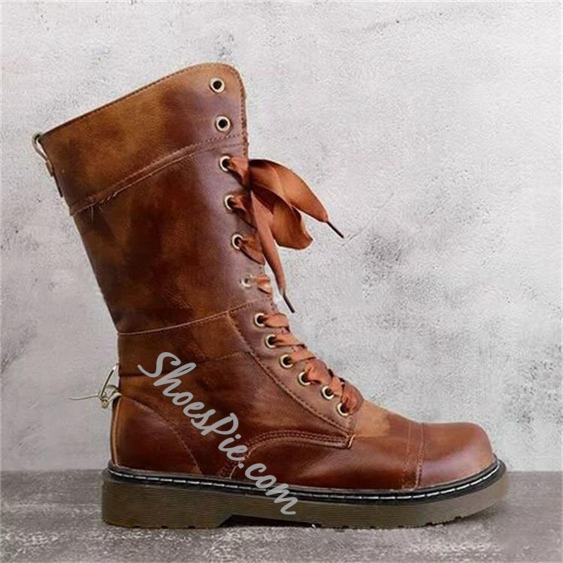 Shoespie Stylish Chunky Heel Lace-Up Front Round Toe PU Boots