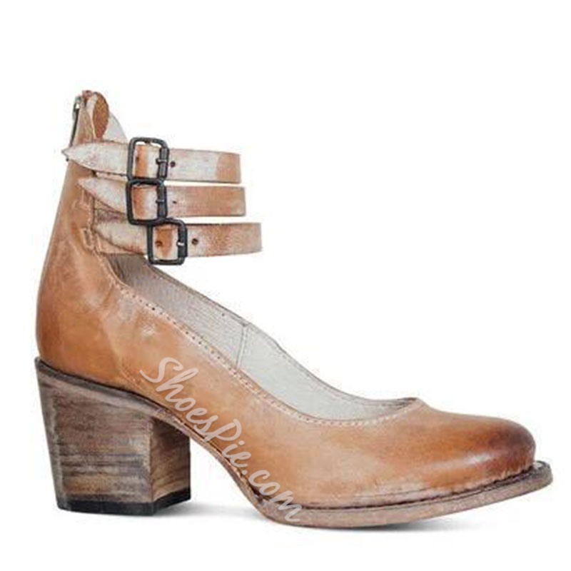 Shoespie Sexy Buckle Round Toe Buckle Plain Thin Shoes
