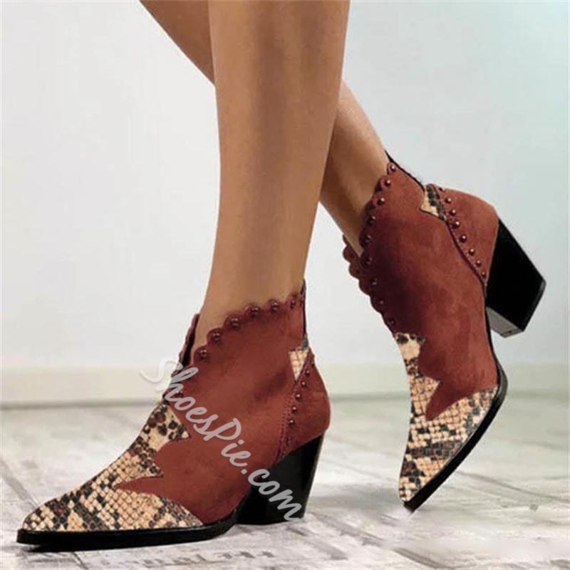 Shoespie Trendy Slip-On Pointed Toe Patchwork Rivet Boots