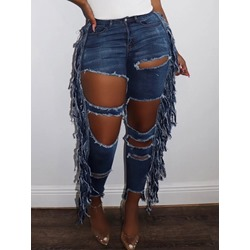 Hole Plain Pencil Pants Skinny Fashion Women's Jeans