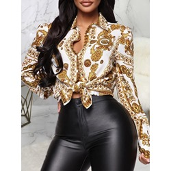 Geometric Lapel Button Mid-Length Women's Blouse