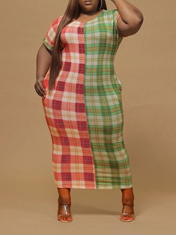 Pocket Round Neck Mid-Calf Plaid Women's Dress