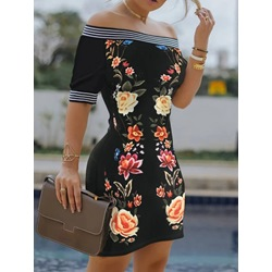 Above Knee Short Sleeve Off Shoulder Bodycon Women's Dress