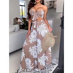 Floral Sexy Vest Wide Legs Women's Two Piece Sets
