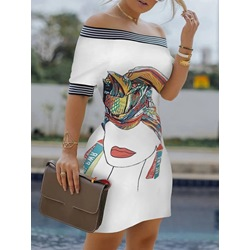 Short Sleeve Print Off Shoulder Summer Women's Dress