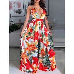 V-Neck Print Floor-Length A-Line Women's Dress