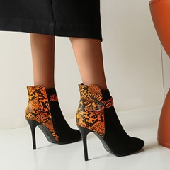 Shoespie Stylish Pointed Toe Color Block Hasp Serpentine Boots