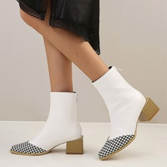 Shoespie Sexy Color Block Pointed Toe Back Zip Zipper Boots