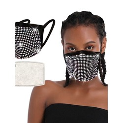 Safety Colorful Sequins Black Masks