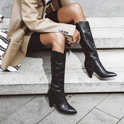 Shoespie Stylish Pointed Toe Side Zipper Plain Zipper Boots