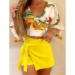Floral Fashion Shirt Culottes Women's Two Piece Sets