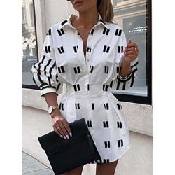 Lapel Print Long Sleeve Regular Women's Dress