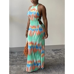 Floor-Length Tie-Dye Sleeveless Bodycon Women's Dress
