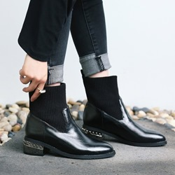 Shoespie Sexy Pointed Toe Patchwork Slip-On Rivet Boots