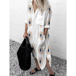 Nine Points Sleeve Pocket Mid-Calf Casual Women's Dress