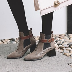 Shoespie Stylish Pointed Toe Hasp Patchwork Casual Boots
