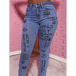 Letter Pencil Pants Zipper Skinny Women's Jeans