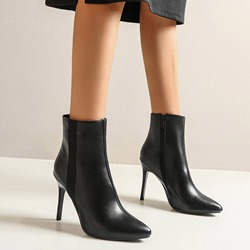 Shoespie Trendy Plain Stiletto Heel Pointed Toe Zipper Boots