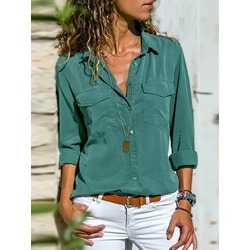 Plain Lapel Patchwork Mid-Length Women's Blouse