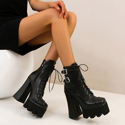 Shoespie Stylish Chunky Heel Side Zipper Round Toe Lace-Up Boots
