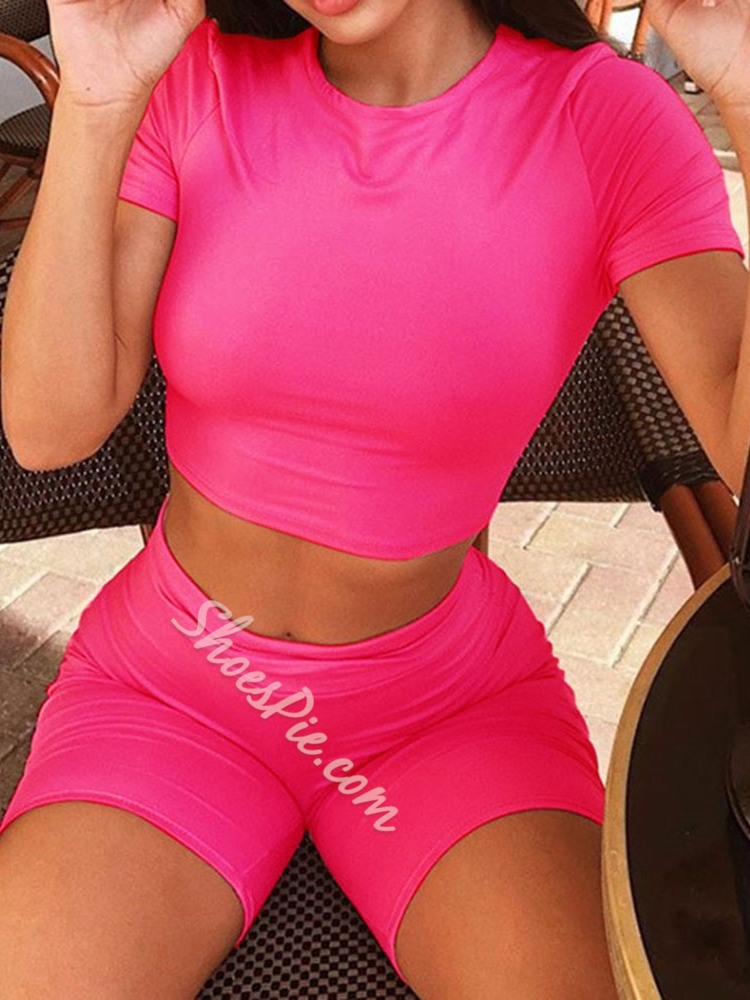T-Shirt Plain Casual Pullover Women's Two Piece Sets