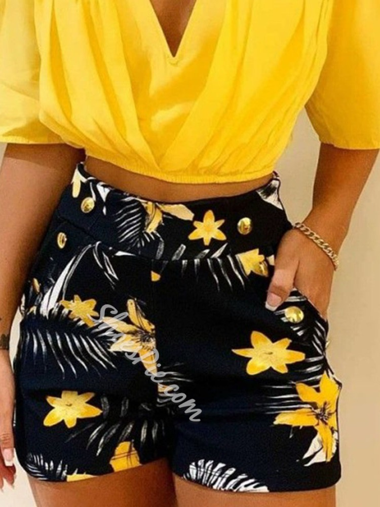 Shorts Floral Fashion Pullover Women's Two Piece Sets
