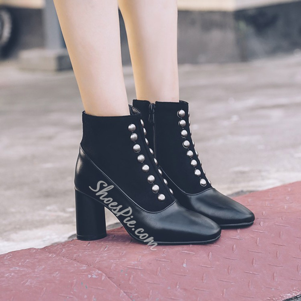 Shoespie Stylish Chunky Heel Side Zipper Plain Zipper Boots