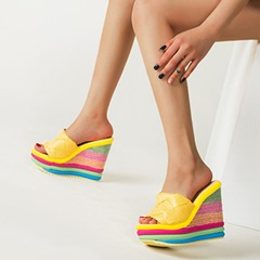 Shoespie Sexy Flip Flop Candy Color Wedge Heel Casual Slippers