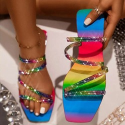 Shoespie Stylish Rhinestone Flat With Flip Flop Color Block Slippers