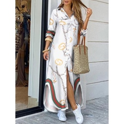 Long Sleeve Floor-Length Lapel Summer Women's Dress