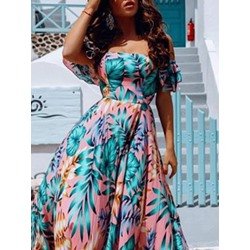 Floor-Length Print Off Shoulder Expansion Women's Dress