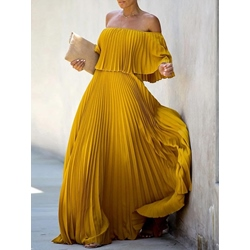 Three-Quarter Sleeve Off Shoulder Floor-Length Sweet Women's Dress