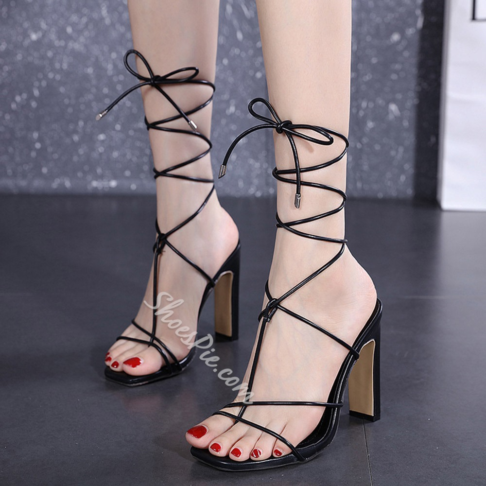 Shoespie Sexy Chunky Heel Square Toe Lace-Up Color Block Sandals