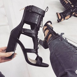 Shoespie Stylish Chunky Heel Zipper Heel Covering Plain Sandals
