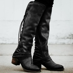 Shoespie Stylish Patchwork Side Zipper Round Toe Thread Boots