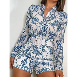 Floral Shirt Print Single-Breasted Women's Two Piece Sets