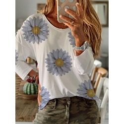 Round Neck Standard Long Sleeve Simple Women's T-Shirt