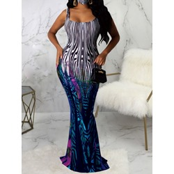 Sleeveless Floor-Length Print Summer Women's Dress