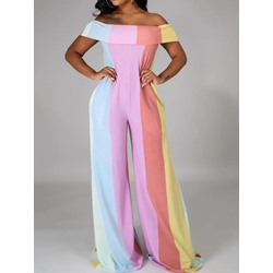 Color Block Full Length Simple Wide Legs Women's Jumpsuit