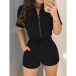 Pocket Shorts Simple Slim Women's Jumpsuit