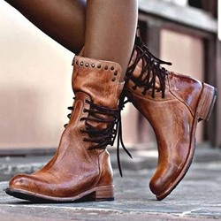 Shoespie Sexy Plain Round Toe Back Zip Lace-Up Boots