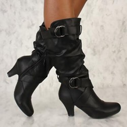 Shoespie Trendy Side Zipper Round Toe Plain Buckle Boots
